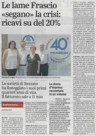 """Le lame Frascio """"segano"""" la crisi: ricavi su del 20%"""